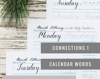 Connections 1: Calendar Words Worksheets for Small Brush Pens