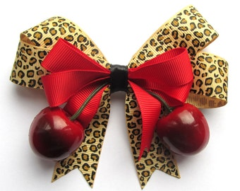 Leopard and Cherry hair bow with realistic lifelike juicy cherries by Dolly Cool
