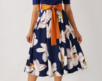 Flower Print Navy Blue Belted Dress - Free Shipping