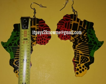 Red,  yellow,  green print Africa shaped wooden earrings