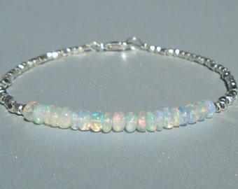 Opal bracelet, Ethiopian Opal Bracelet, Dainty Beaded Bracelet, October Birthstone, Karen Hill Silver, Skinny Beaded Bracelet