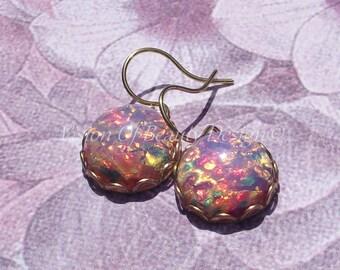 Vintage Fire Opal Drop Earrings