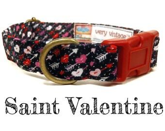 """Black Red Pink Glitter Arrows Hearts Love Girl Valentine Dog Collar - Organic Cotton - Antique Brass Hardware - """"Saint Valentine"""""""