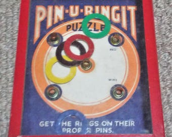 Pin-U-Ringit Vintage Dexterity Puzzle Game - R. Journet