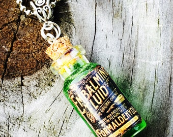 Embalming Fluid Necklace ,Green n Pink  Fluid Bottle ,Post Mortem, Mortician , Undertaker Creepy Fun  Glass 2ml Vials By: Tranquilityy