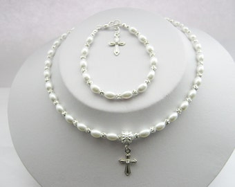 First Holy Communion Necklace Bracelet Jewellery Set, Confirmation Jewelry, Flower Girls, Bridesmaids Wedding Set, Religious Jewelry Gifts