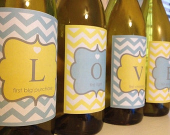 Printable Chevron LOVE WEDDING GIFT Wine Bottle Labels  - Lovely Little Party