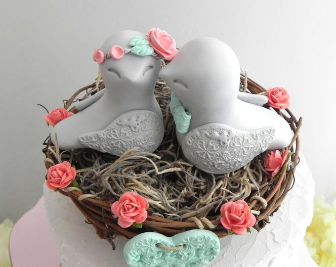 Boho Love Bird Wedding Cake Topper -Coral, Gray and Mint Green, Love Birds in Nest - Personalized Heart