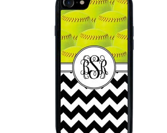 Softball Phone Case, Chevron, Sports, Player, Monogram, Initials, iPhone 5 5s 5c 6 6s 6+ 6s+ SE 7 7+ 8 8+ X Galaxy S7 S8 S8+, Edge, Plus