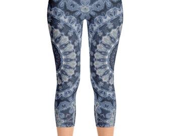 Mid Rise Leggings Yoga Dark Blue, Mandala Yoga Pants, Printed Yoga Tights, Dark Blue Leggings, Fashion Leggings, Womens Stretch Pants