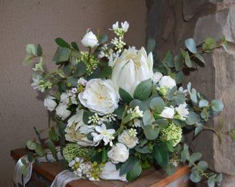 Garden Fresh Bouquet white Bouquet,  Protea Bouquet, Brides Bouquet, Boho Bouquet, Garden Bouquet, Peony Bouquet