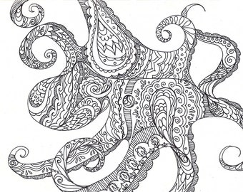 """Octopus Drawing - A Suitable Cephalopod - Fine Art Giclee Print 13/50 of 6""""x4"""" Black and White Alpana Henna"""