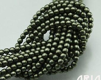 DARK SAGE SATIN: 2mm Czech Glass Pearl Beads (150 beads per strand)