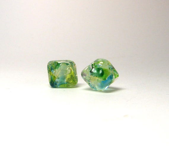 Tiny Greenery Jewels Artisan lampwork bead pair - Small 10mm handcrafted beads in a crystal shape  -  Italian  silver inclusions under glass