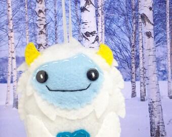 White Yeti snow monster, Yeti felt ornament, yeti plush doll decor, abominable snowman, funny christmas decor, felt big foot ornament.