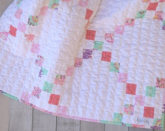 Second Sale! Baby Quilt- Floriography, Irish Chain Quilt, Scrappy Pathcwork Quilt, Baby Blanket, Toddler Quilt