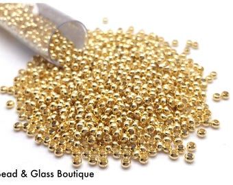 Heavy Metal Seed Bead, 11/0, 24kt Gold Plated, approx 50 grams