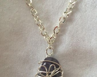 Silver-wrapped Amethyst Stone Pendant & Chain