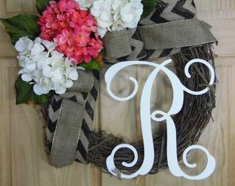 spring wreath - wreath - summer wreath - hydrangea wreath - monogram wreath - mothers day