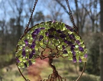 Berry Bush Tree, SunCatcher, Tree of Life, Sun Catcher, Amethyst Peridot Gemstones, Wire Wrapped Tree, Window Decor, Wall Ornament