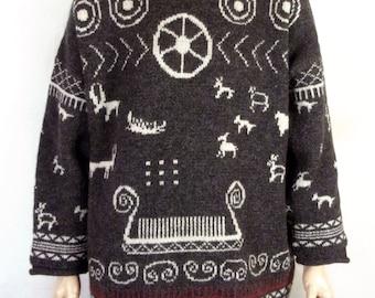vtg Yllet Svenska design Anne Norin Thick 100% Wool Sweater Coat Swedish made XL