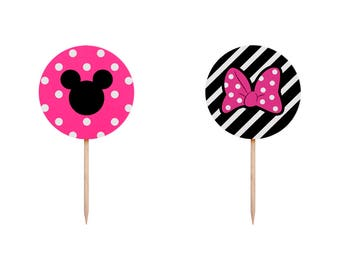 Minnie Mouse Cupcake Toppers, Minnie Mouse Toppers, Minnie Cupcake Toppers, Minnie Food Picks, Minnie Birthday, Minnie Party