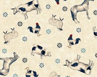 Farm Animal Fabric, Americana - Heartland By Jennifer Brinley - Studio e Fabrics -  3641 44 Cream - Priced by the Half Yard