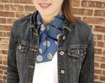 Ascot - Necktie Scarf - Necktie Necklace - Women's Tie - Hipster Clothing - Work Wear - Blue and Gold Lauren Scarf. 33