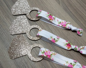Gold Diamond Hair Tie Favors | Floral Hair Tie Favors | Bridesmaid Proposal | Bahcelorette Party Favors | Bridesmaid Favors