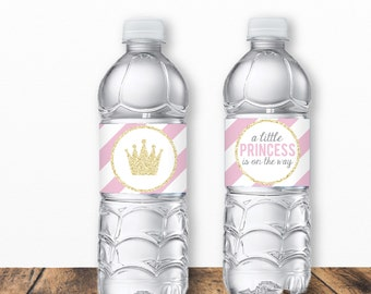 Little Princess Baby Shower, Little Princess Water Bottle Labels, Baby Shower Water Bottle Labels, Pink and Gold Baby Shower, Printable PDF