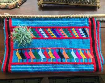 Large Bohemian Woven Tapestry, Woven South American Textile, Vibrant Wall Hanging, Bohemian Decor, Bamboo Ends, Vibrant Colors