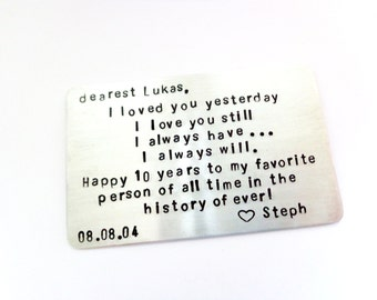 I LoVed you Yesterday I LoVe You Still Wallet Insert Card - Third Year Anniversary - Create Your Own Message, Saying Or Quote For Him or Her