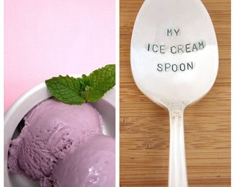 Handstamped spoon, Ice Cream Spoon, Gift Under 20, Personalized spoon, stamped spoon, ice cream lover