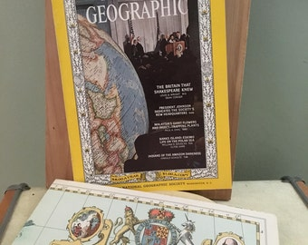 Vintage National Geographic Shakespeare's Britain with Map included, Kitsch Shakespeare ephemera, Shakespeare History