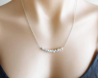 Keishi Pearl Bar Necklace in Sterling Silver, Stacked Natural Pearl Necklace, Simple Pearl Jewellery