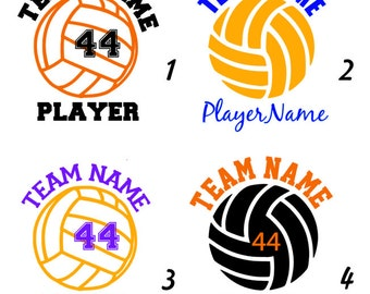 """Multi-Color Volleyball Decal or Iron-On """"Personalized"""" - Name/Team/Number"""