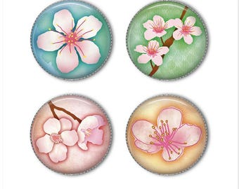 Cherry Blossoms magnets or pins, refrigerator magnets, fridge magnets, office magnets