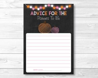 Pink Pumpkin Baby Shower Advice Cards / Pumpkin Baby Shower / Fall Baby Shower / Words of Wisdom / Printable INSTANT DOWNLOAD A207