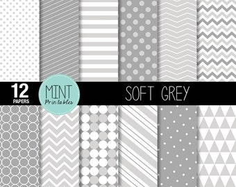 Grey Scrapbooking Paper, Digital Paper, Patterned Paper, Printable Sheets Gray polka dots, stripes chevron background - BUY 2 GET 1 FREE!