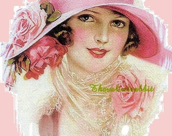 SALEFabric Block Sale.Girl with pink roses on a cloche hat. Two identical cotton fabric blocks. Use like any fabric you sew with.