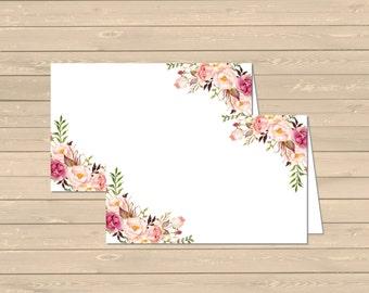 Boho Floral Printable Food Tent Cards Place Cards, Floral DIY Buffet Place Cards, Boho Food Table Signs, Boho Decor, Instant Download 025-G