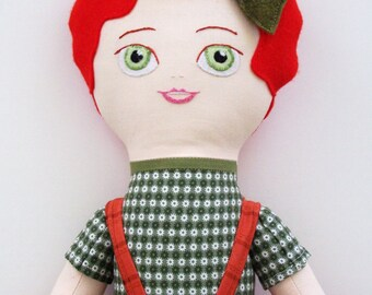 Colette:20in. cotton and felt cloth doll/ rag doll with green jumper, rust skirt, green polka-dot tights and shiny gold sandals