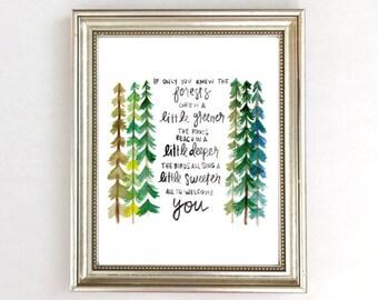 Forest Nursery Decor, Forest Art Print, Watercolor Trees, Nursery Quote Watercolor Nursery Art, Neutral Nursery, Woodland Nursery Decor