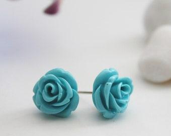Rose Post Earrings. Teal (VER-05)