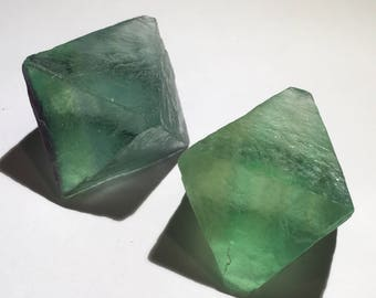 2pc Top Quality 79g XL Natural Fluorite Octahedron Crystal Set - China - Item:F17089