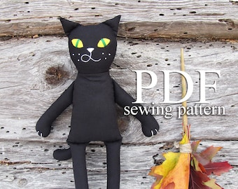 Black cat sewing pattern PDF - Halloween sewing PDF - Easy Cat sewing pattern & tutorial for beginners - Make your own plushie PDF