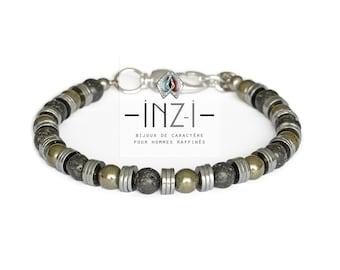 Bracelet lava stone, pyrite and hematite 6mm INZ - I - model LIAM