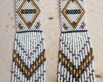 "Long Fractal Seed Beaded Fringe Earrings ""Diamond Dazzels"" Boho Style, Long Beaded Earrings"