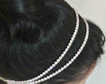 Double Crystal Bridal Headband, Silver or Gold Beaded Wedding Headpiece, SONIA