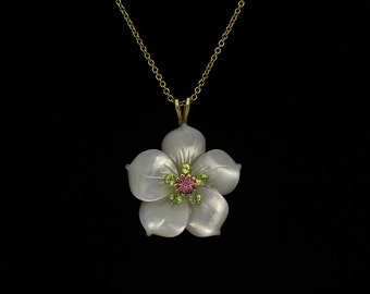 Mother of Pearl - 3D Carved Flower with (5) 3mm Brilliant Cut Round Peridot and (1) 5mm Natural Fancy Cut Round Brilliant Pink Spinel